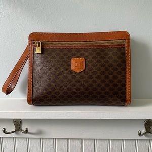 CELINE Brown Vintage Macadam Wristlet Clutch